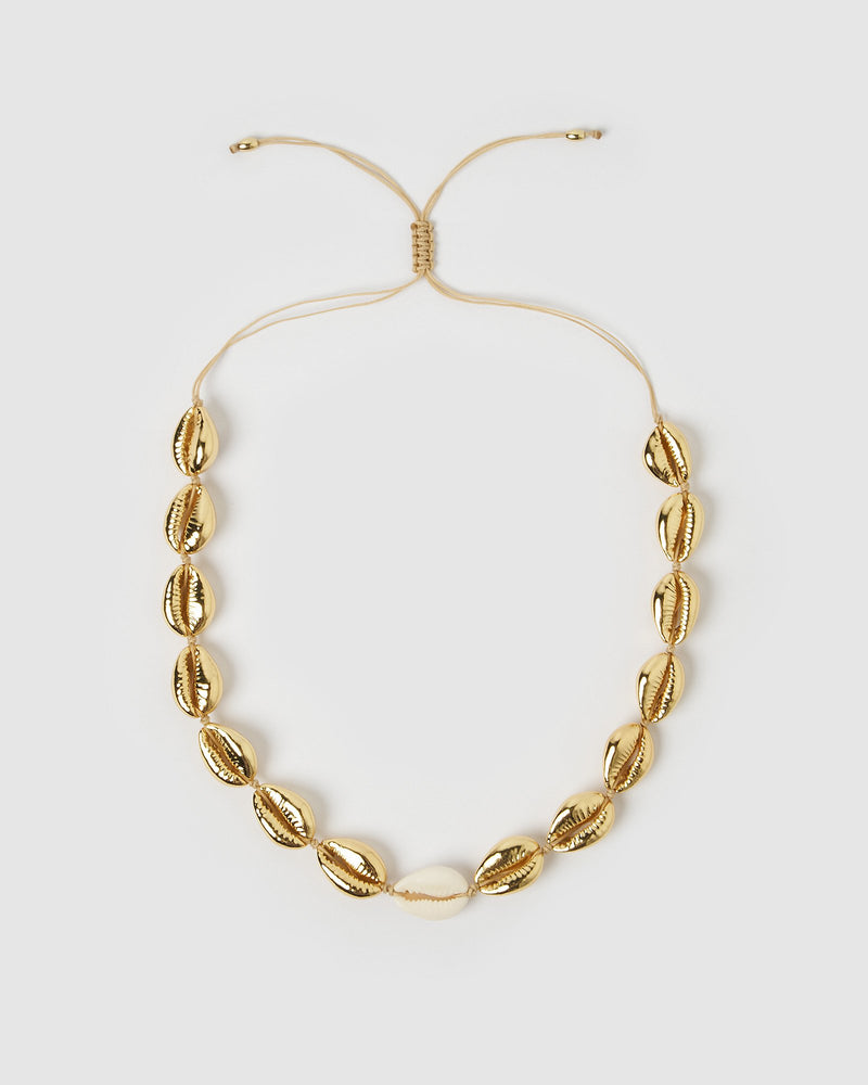 Miz Casa & Co Shell Collector Necklace Shell Gold