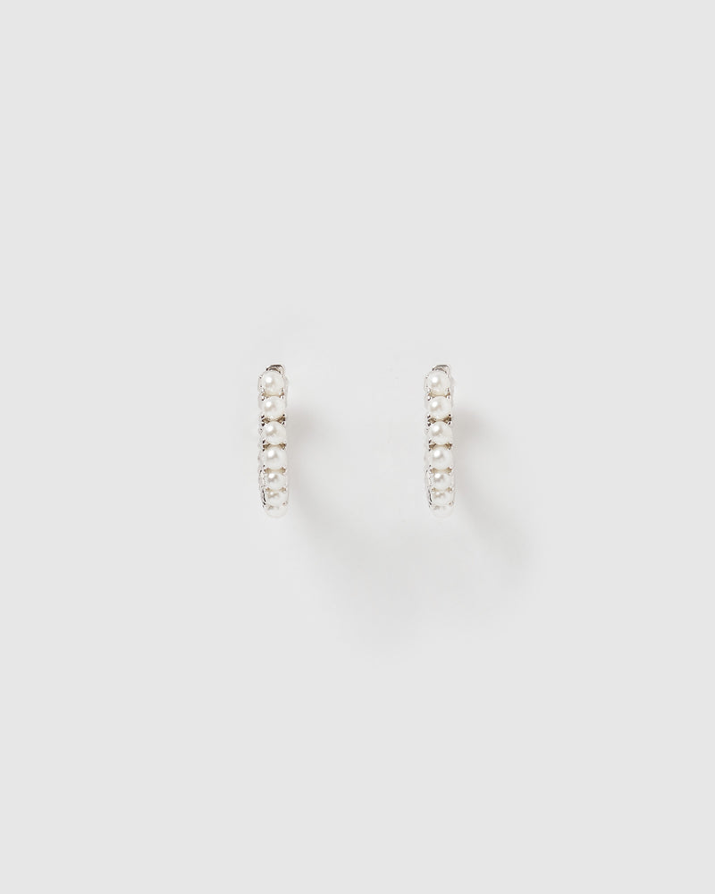 Izoa Talita Huggie Earrings Silver Pearl