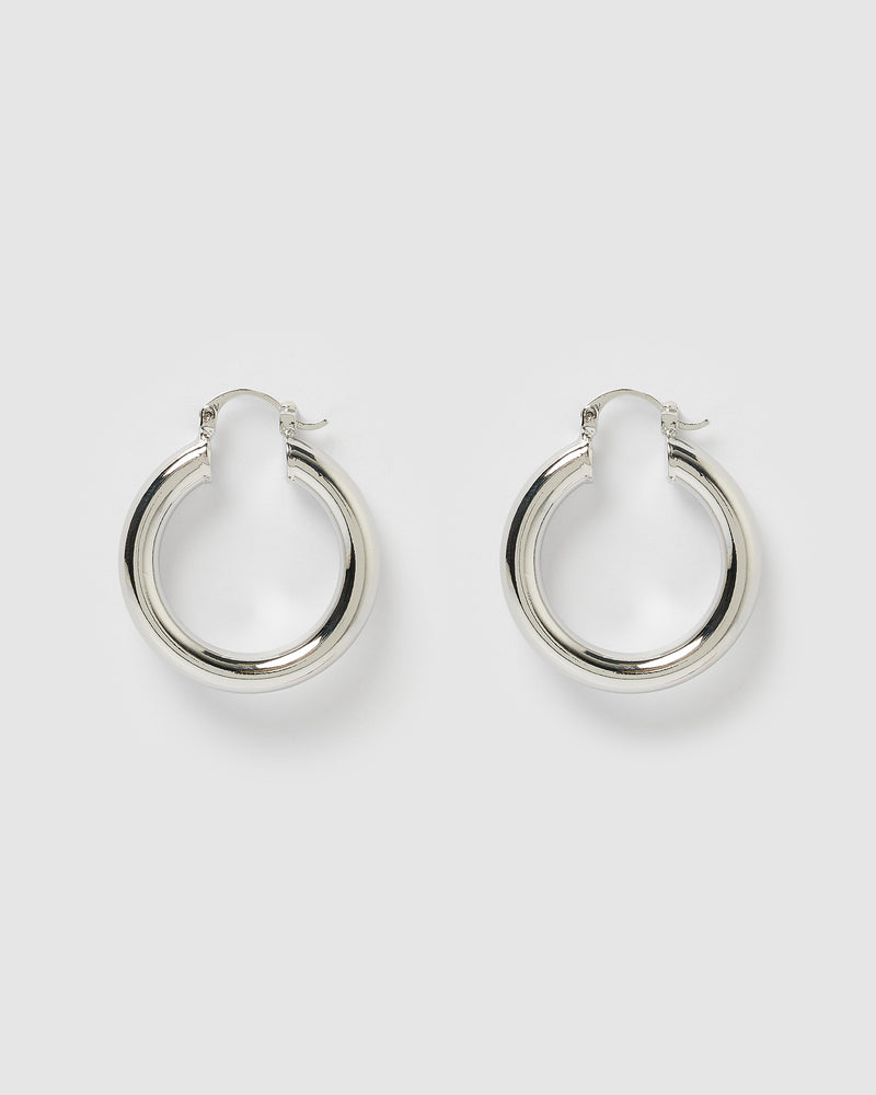 Izoa Small Teddy Hoop Earrings Silver