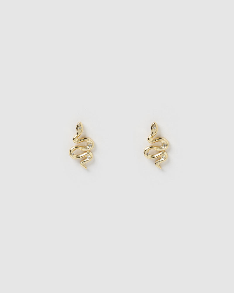 Izoa Snake Stud Earrings Gold
