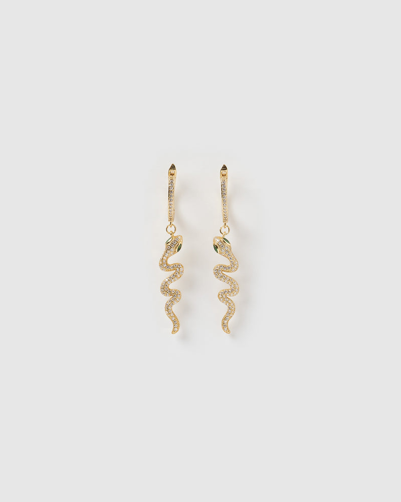 Izoa Snake Drop Huggie Earrings Gold