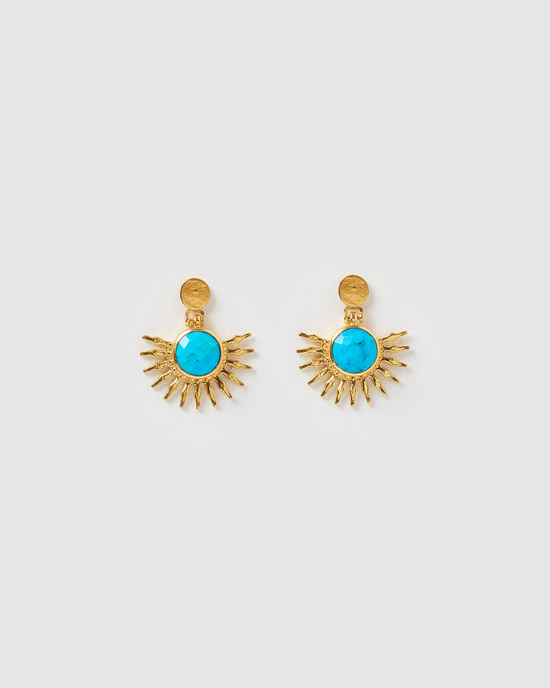 Izoa Solstice Earrings Turquoise Gold