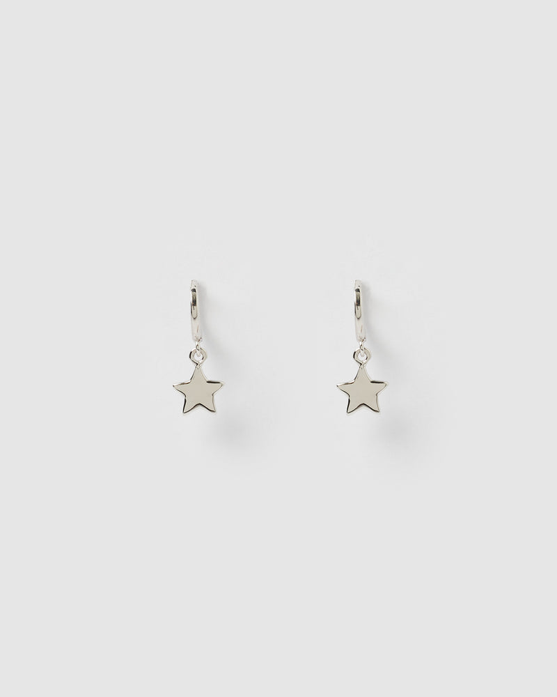 Izoa Star Huggie Earrings Silver