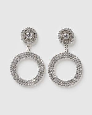 Izoa Stassie Earrings Statement Silver Clear