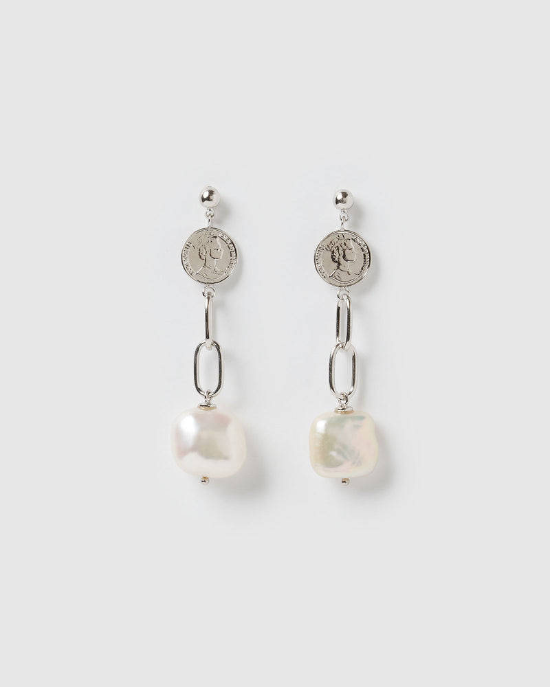 Izoa Take a Chance Earrings Silver Freshwater Pearl