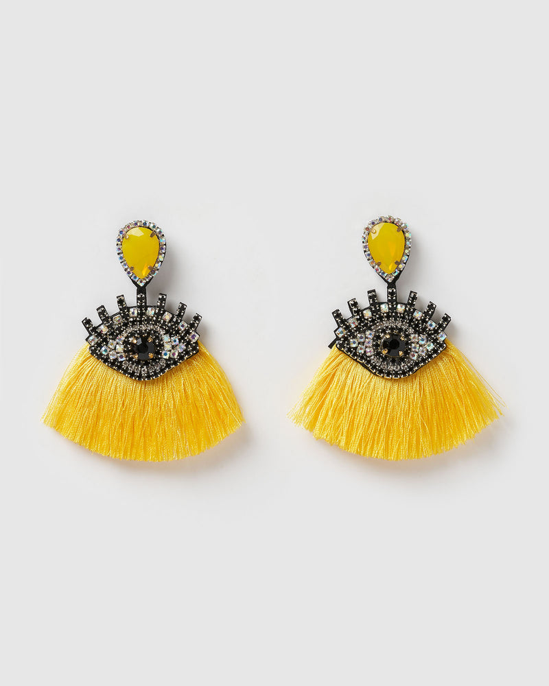 Izoa Take a Glance Earrings Yellow