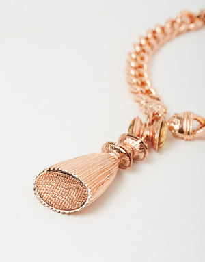 Izoa Tassel and Charm Necklace Rose Gold