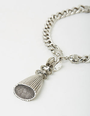 Izoa Tassel and Charm Necklace Silver
