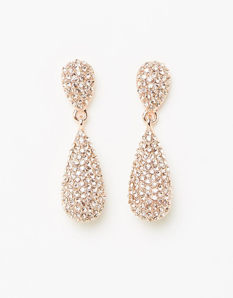 Izoa Tear Drop Crystal Earrings Rose Gold