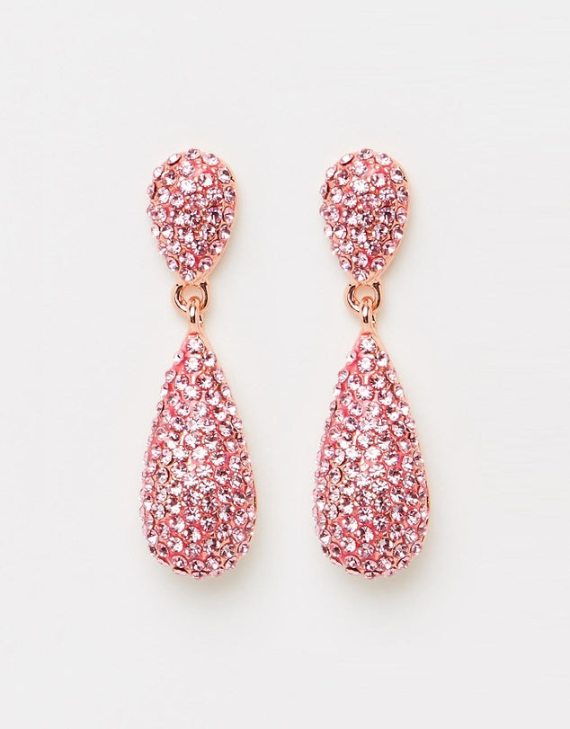 Izoa Tear Drop Crystal Earrings Rose Gold Pink
