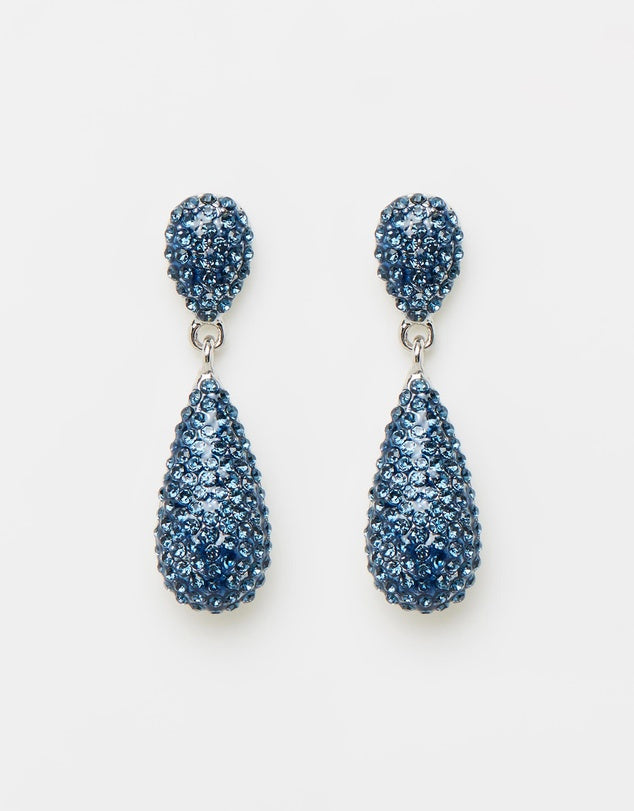 Izoa Tear Drop Crystal Earrings Silver Blue