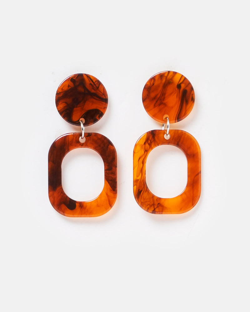 Izoa Temples Earrings Brown
