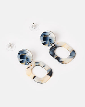 Izoa Temples Earrings White Black Speckle