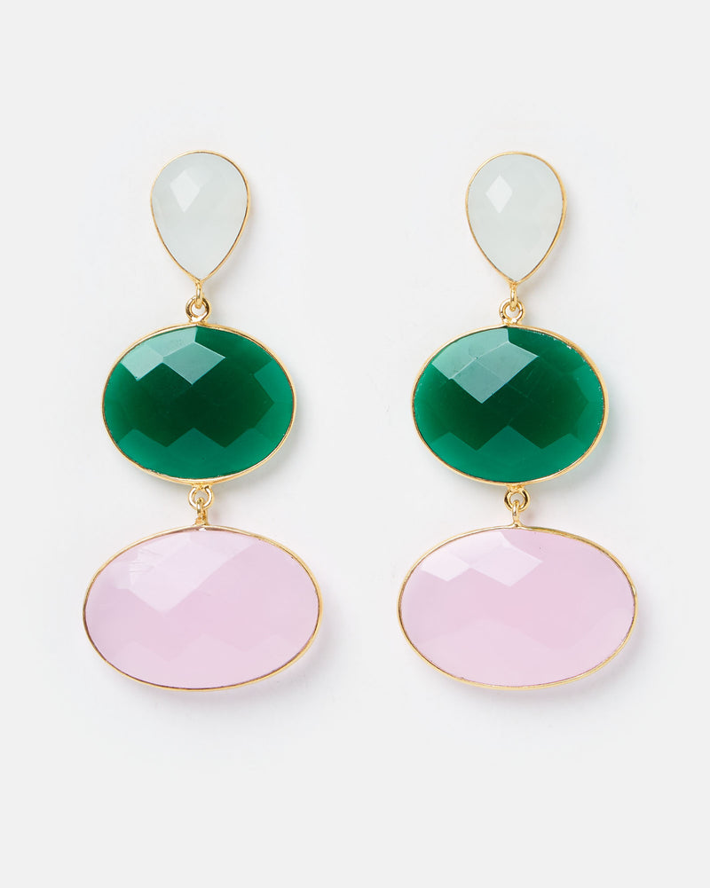 Izoa Temptress Earrings Pink Green
