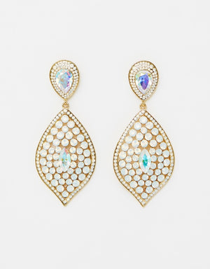 Izoa Thalassa Tear Drop Earrings in Gold White Opal