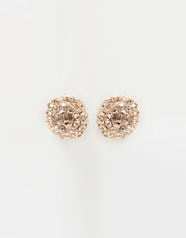 Izoa Tiny Crystal Stud Earrings Rose Gold