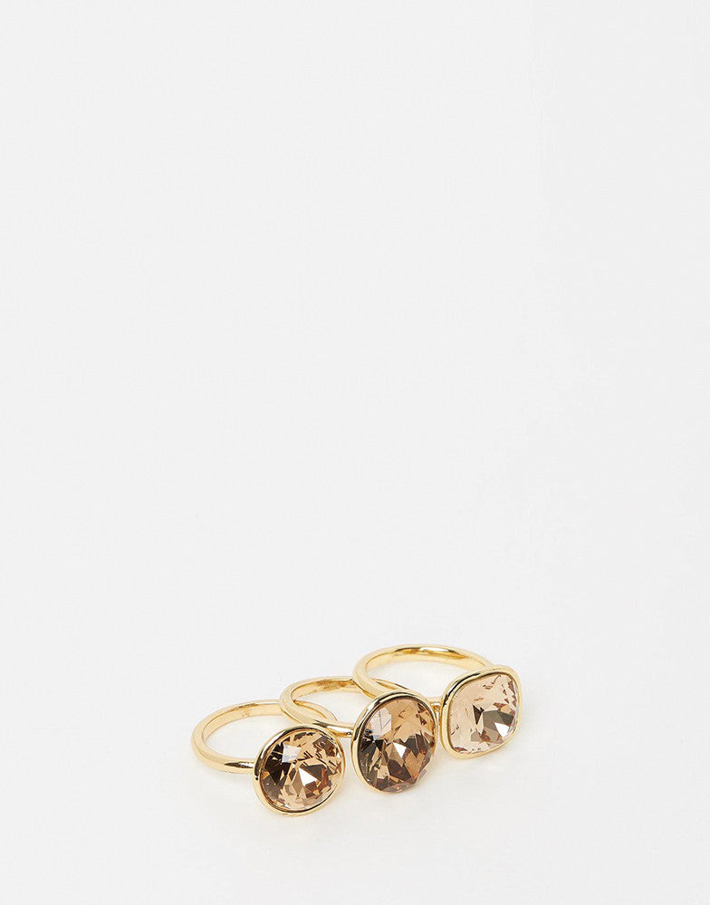 Izoa Triple Trouble Set Of Three Rings Gold