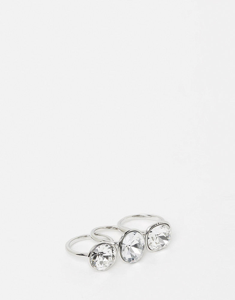 Izoa Silver Triple Trouble Set Of Three Rings
