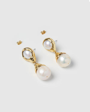 Miz Casa & Co Twilight Pearl Earrings Gold