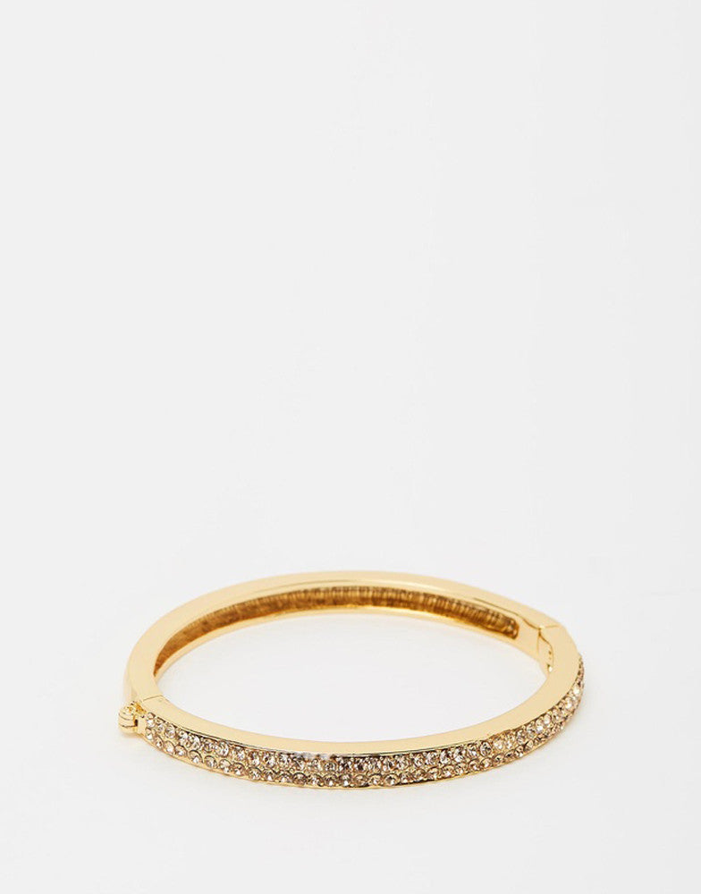 Izoa Two Row Crystal Clasp Bangle Gold
