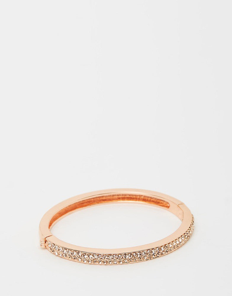 Izoa Two Row Crystal Clasp Bangle Rose Gold Peach