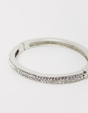 Izoa Two Row Crystal Clasp Bangle Silver Clear