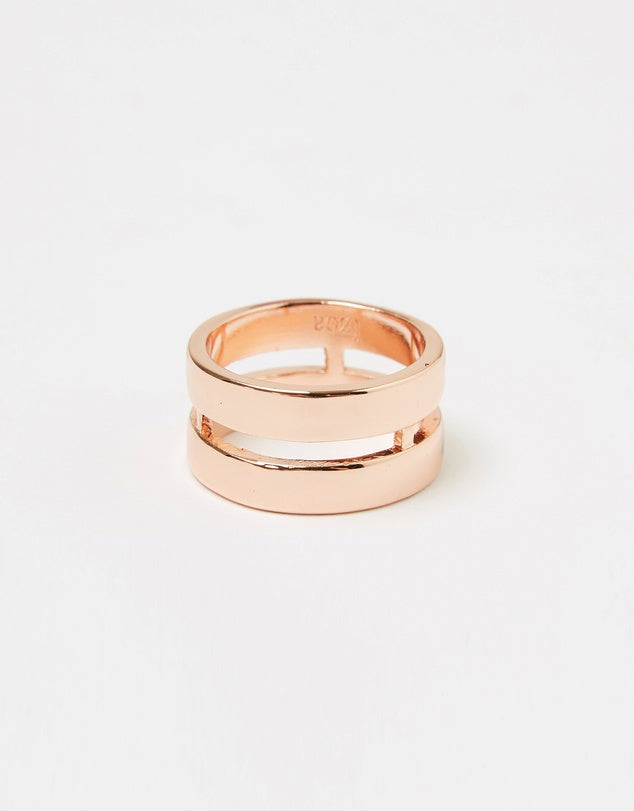 Izoa Two Line Ring Rose Gold