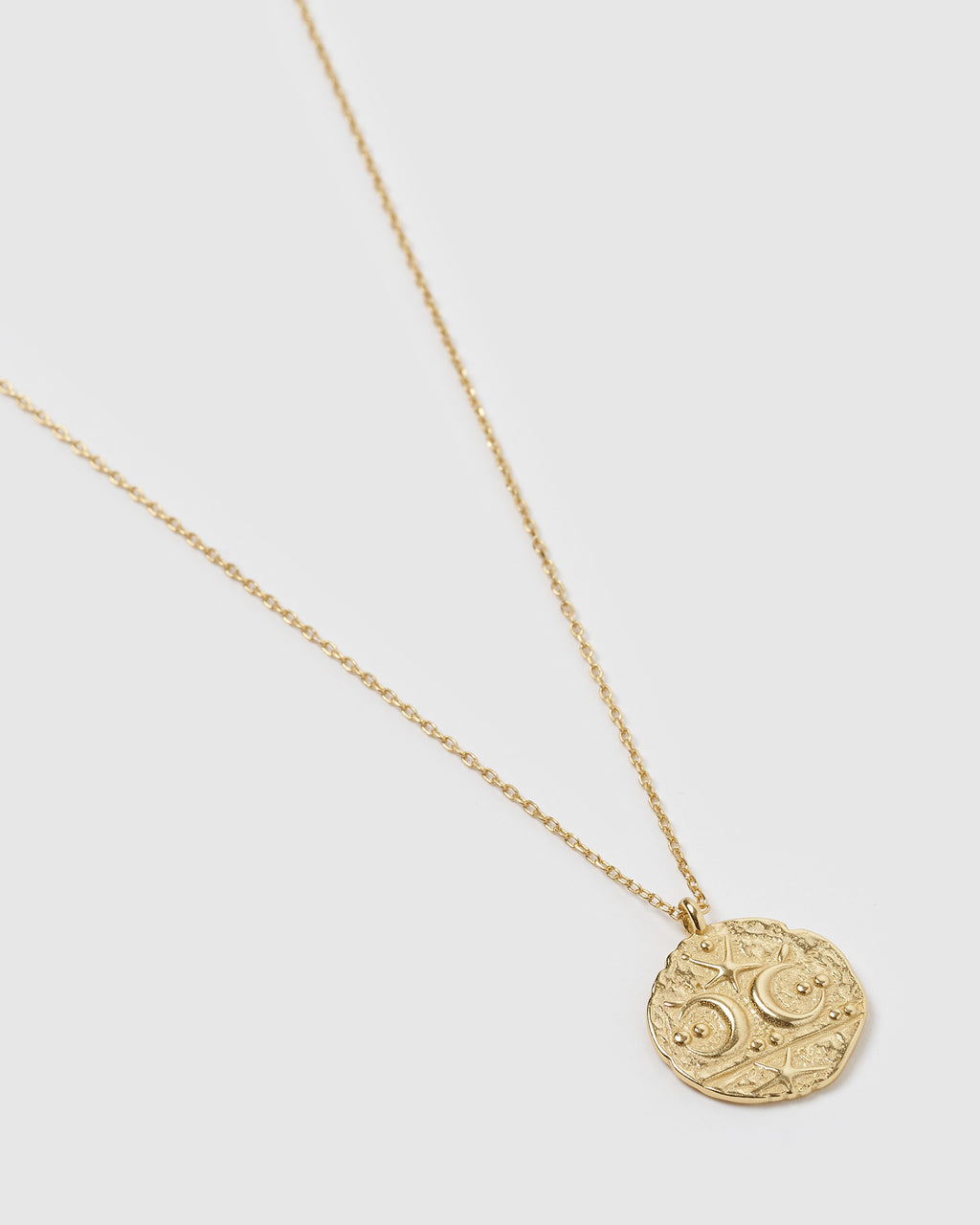 Izoa Two Moons Coin Necklace Gold