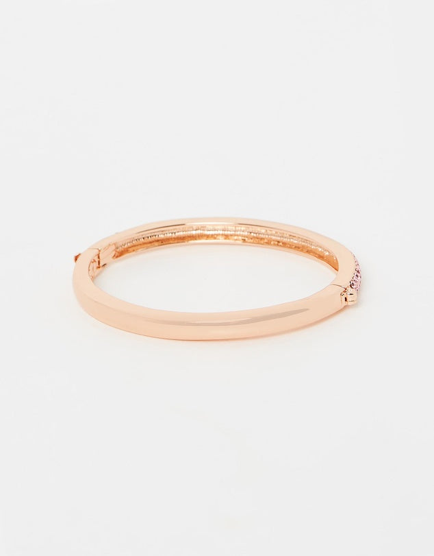 Izoa Two Row Crystal Clasp Bangle Rose Gold Pink