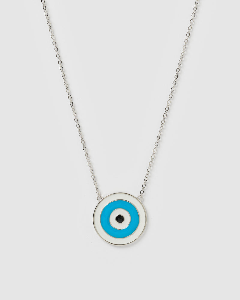 Izoa Talisman Evil Eye Necklace Silver Multi