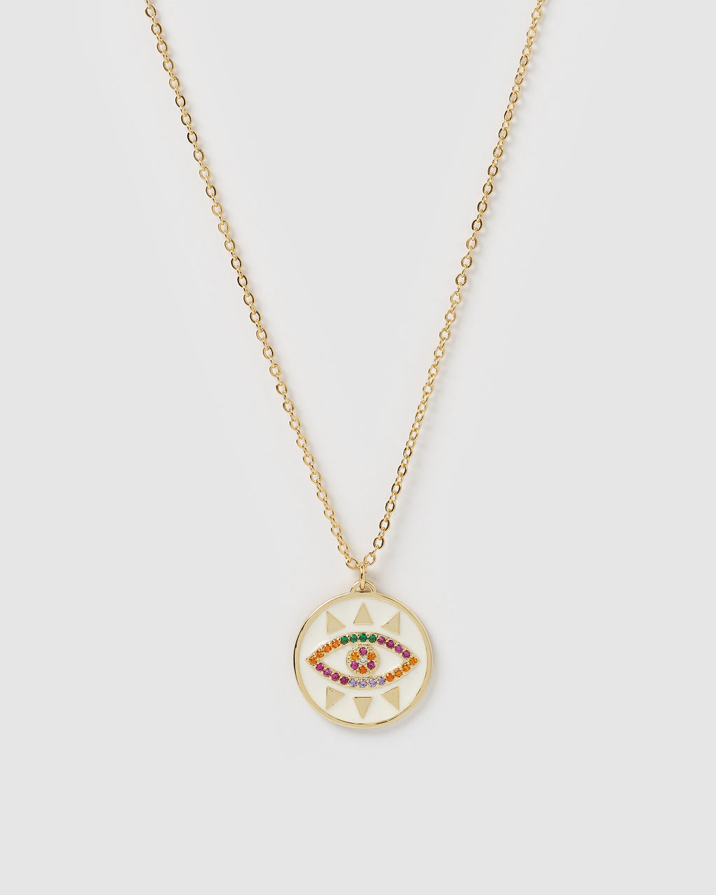 Izoa Tamara Evil Eye Necklace White Multi