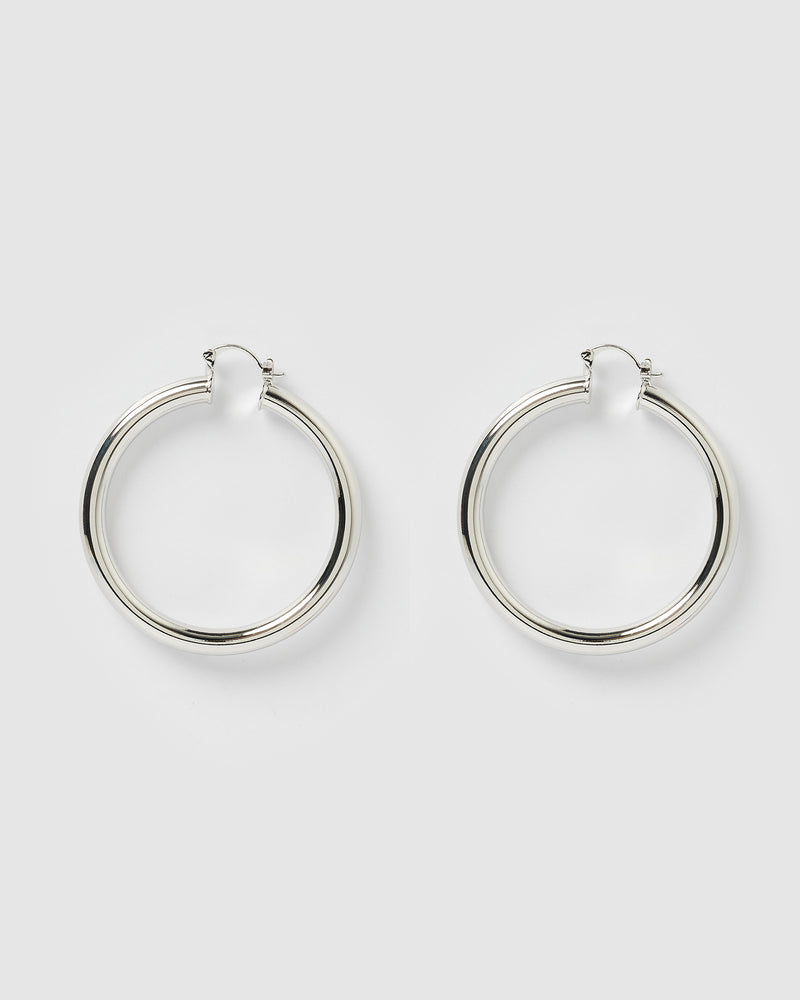 Izoa Teddy Hoop Earrings Silver