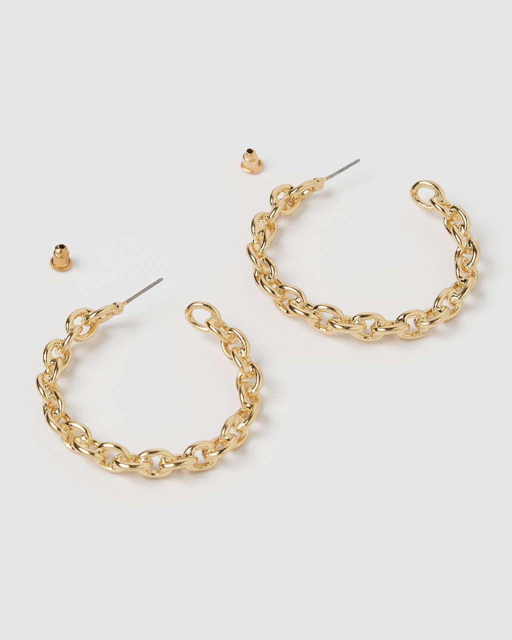 Izoa Terry Chain Hoop Earrings Gold