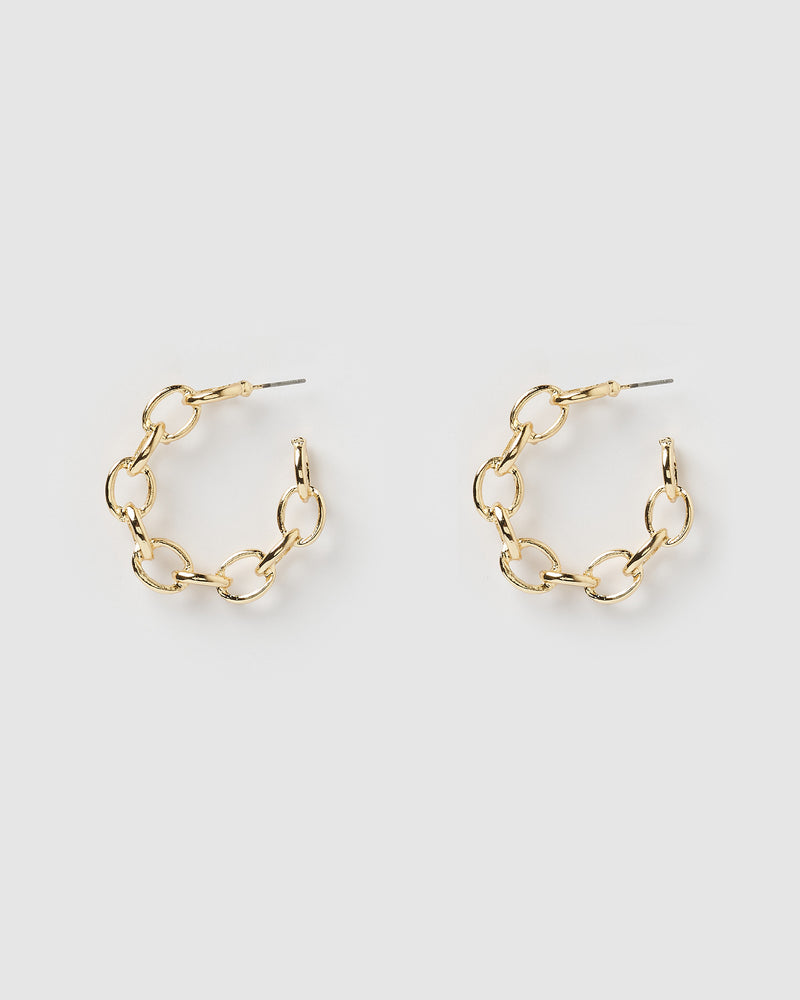 Izoa Tiki Chain Hoop Earrings Gold