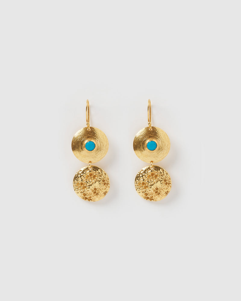 Izoa Transform Earrings Gold Turquoise