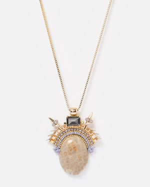 Izoa Underworld Necklace Gold Stone