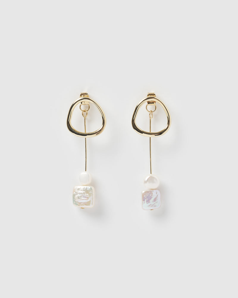 Izoa Venus Earrings Gold Freshwater Pearl