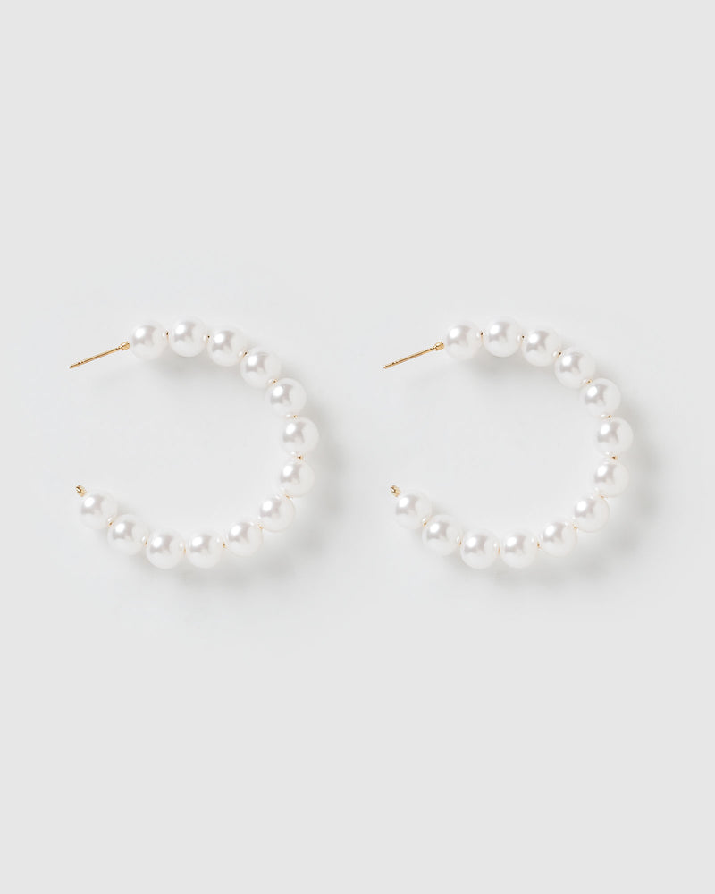 Izoa Vera Hoop Earrings Pearl