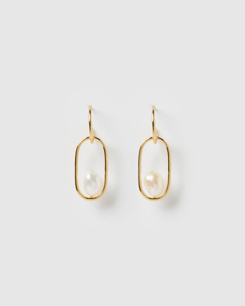 Izoa Virtue Earrings Gold Freshwater Pearl