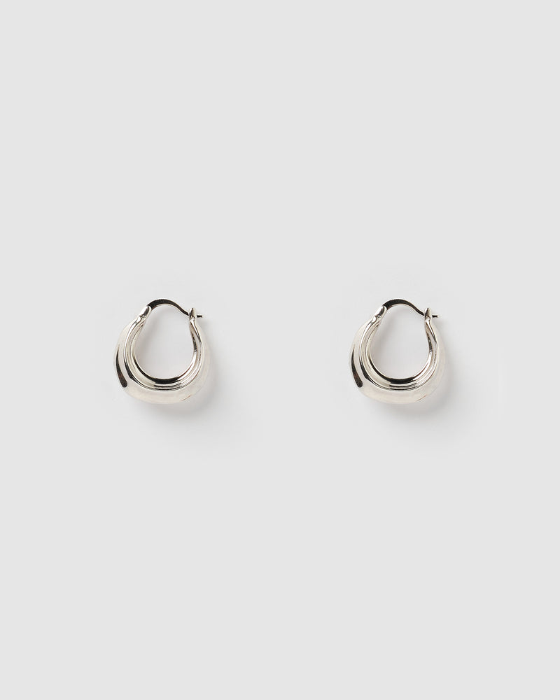Izoa Varea Hoop Earrings Silver