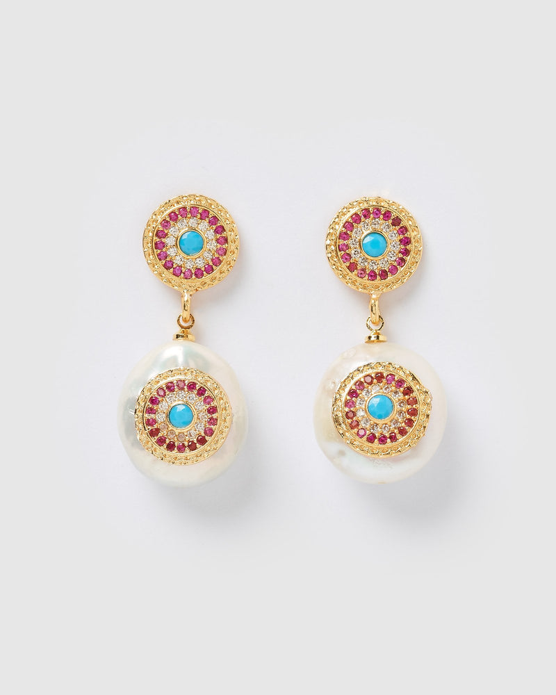 Miz Casa & Co Veronica Pearl Pendant Earrings Gold Pink