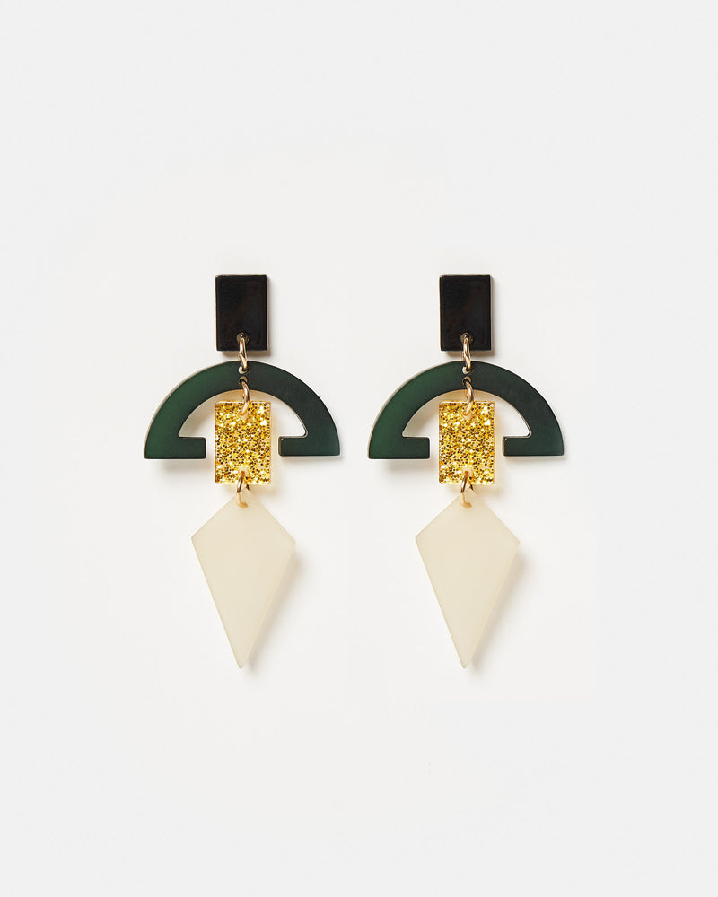 Izoa Figura Earrings Green Multi Colour