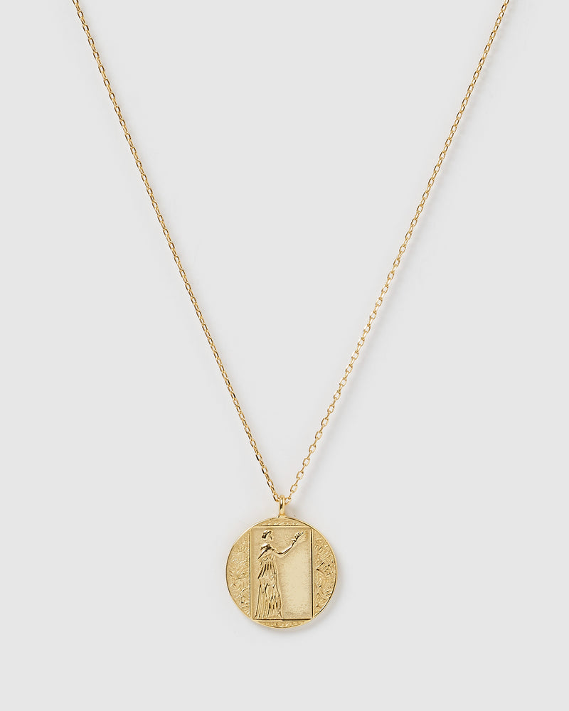 Izoa Wisdom Pendant Necklace Gold