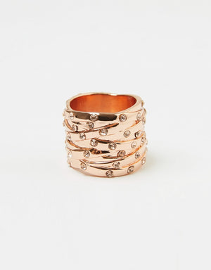 Izoa Woven Crystal Ring Rose Gold and Peach