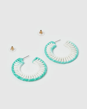 Izoa Warped Earrings Blue White