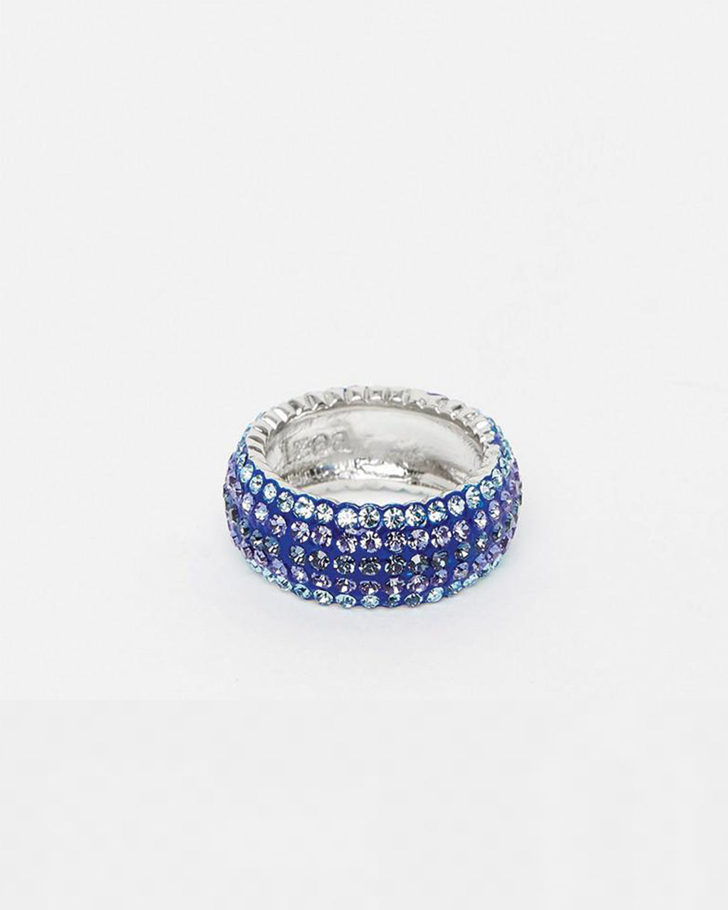 Izoa Crystal Ring Blue Silver