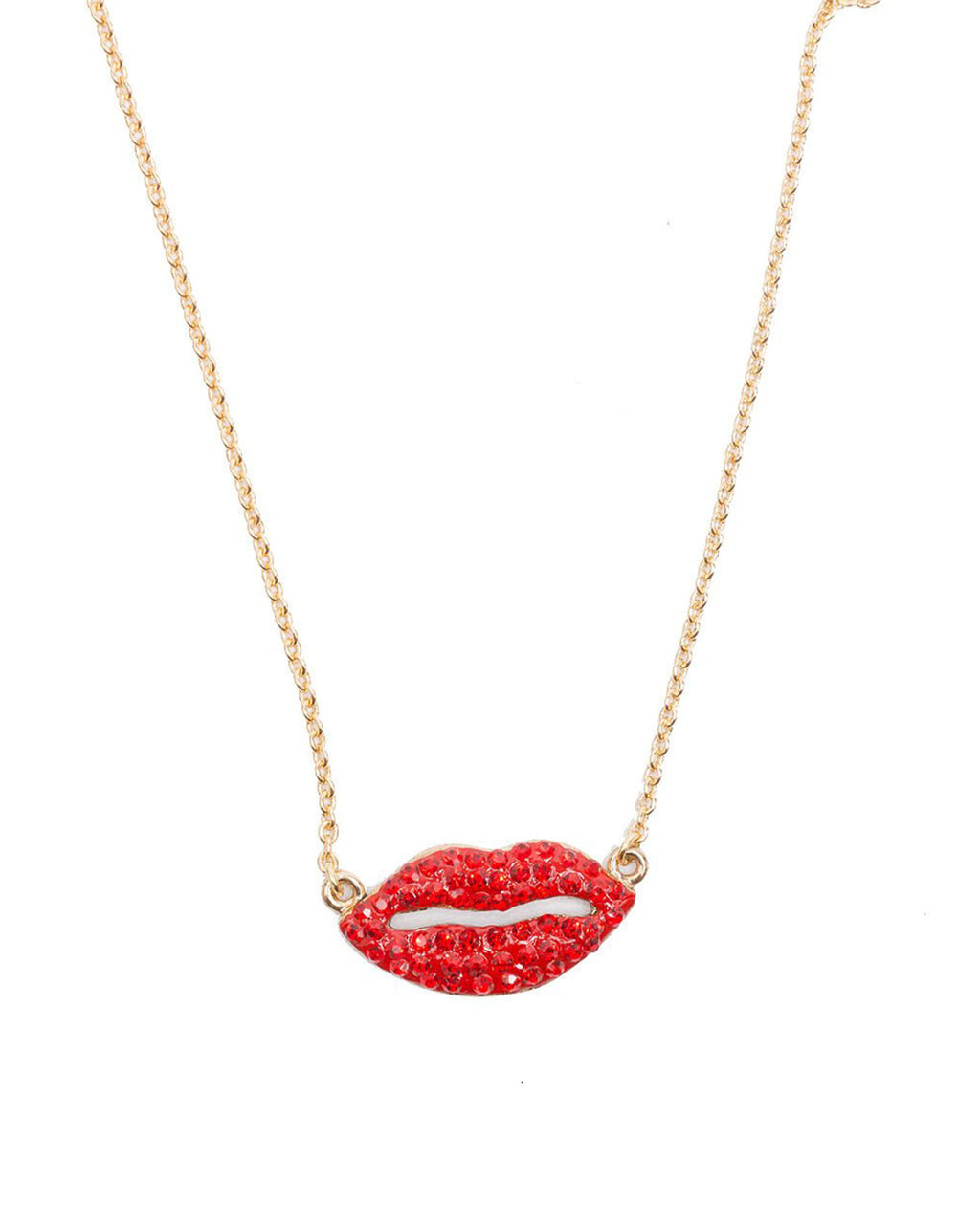Izoa Lips Pendant Necklace Gold Red