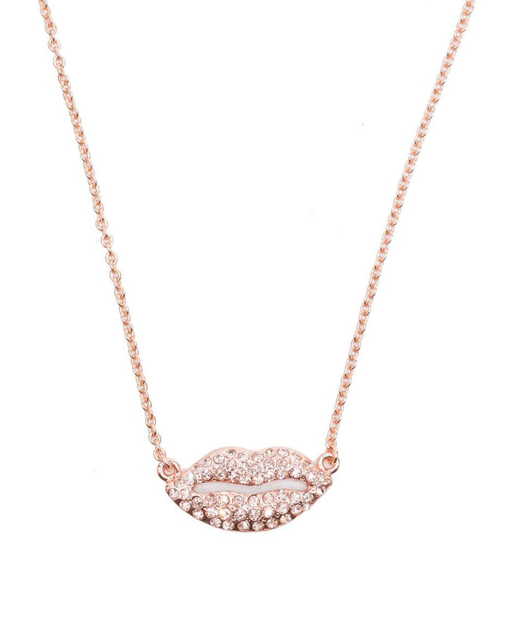 Izoa rose gold lips pendant necklace