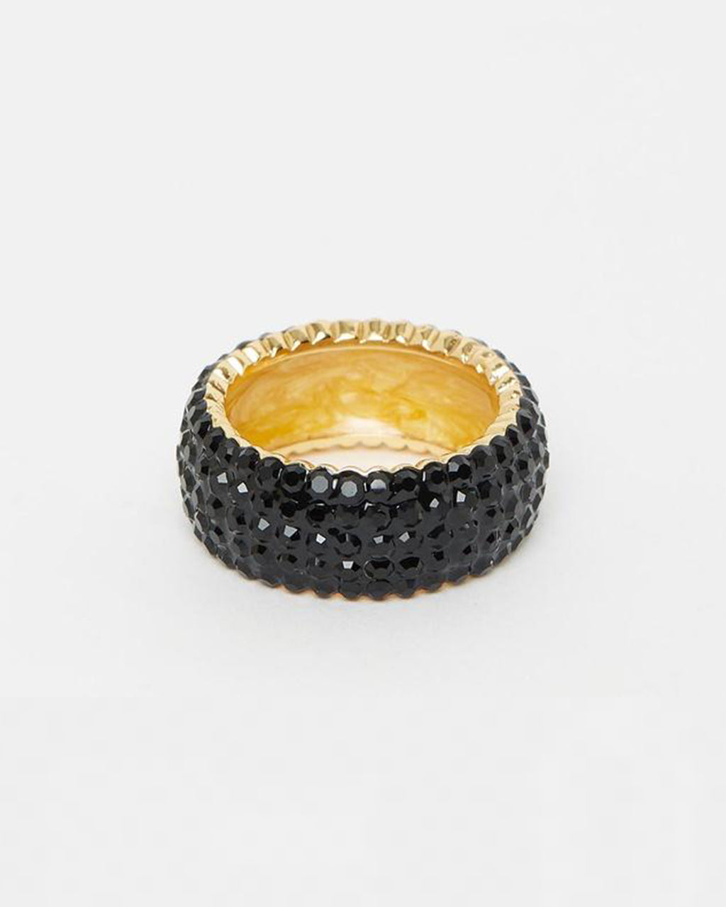 Izoa Crystal Ring Gold Black