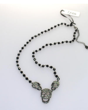 Izoa Skull Pendant Necklace Gunmetal